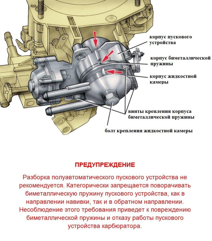 Пусковое устройство карбюратора ВАЗ 2110